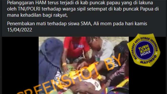 Beredar unggahan TNI/Polri tembak siswa SMA di Papua.