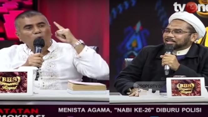 Teuku Nasrullah dan Ali Mochtar Ngabalin di acara Catatan Demokrasi tvOne