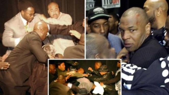 Tawuran jelang laga Lennox Lewis vs Mike Tyson