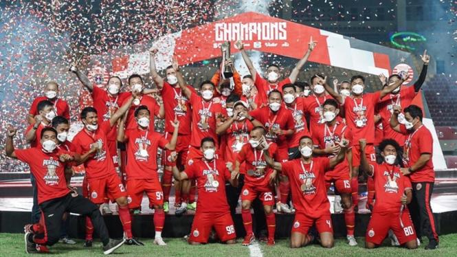 Selebrasi pemain Persija berhasil juara Piala Menpora