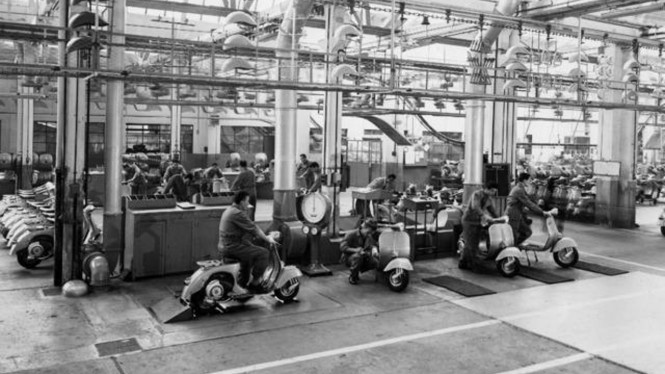 Ilustrasi pabrik Vespa