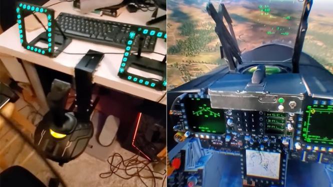 Simulator jet tempur F/A-18C Hornet.