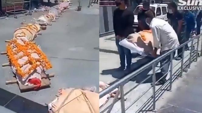 Puluhan jenazah COVID-19 India mengantre untuk dikremasi.