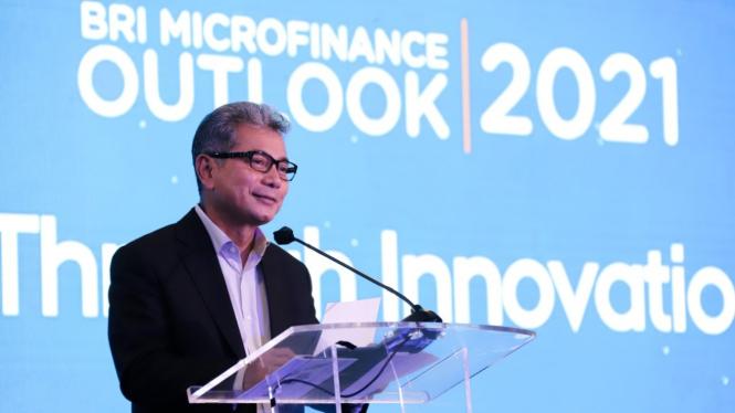 Dirut BRI, Sunarso pada kegiatan BRI Microfinance Outlook 2021