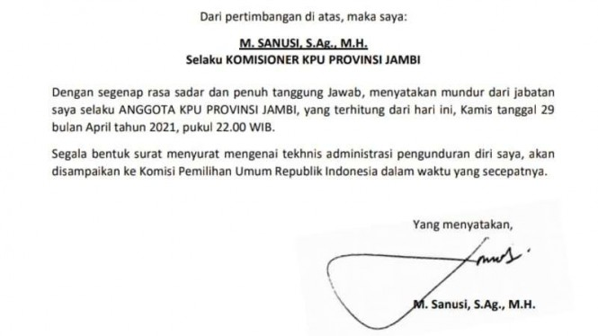 Komisioner KPU Jambi Mundur.