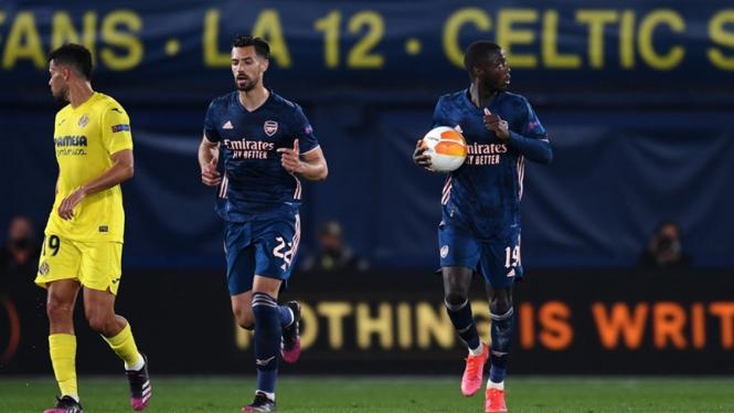Nicolas Pepe dalam pertandingan Arsenal melawan Villarreal