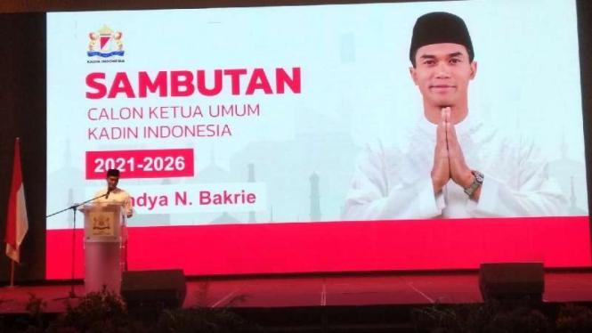 Calon ketua umum Kadin Indonesia Anindya Bakrie saat menghadari deklarasi dukungan kepadanya sekaligus berbuka puasa bersama di Hotel JW Marriot, Kota Medan, Sumatera Utara, Sabtu malam, 1 Mei 2021.