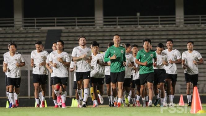 Latihan perdana Timnas Indonesia Kualifikasi Piala Dunia 2022