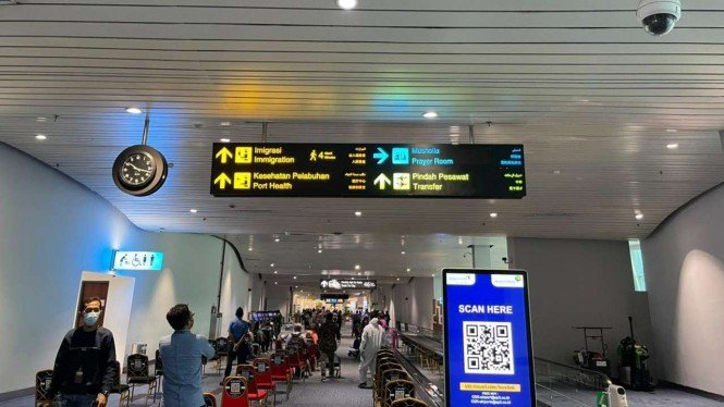 ilustrasi posko pengawasan WNA dan WNI dari luar negeri di Bandara Soetta, Banten.