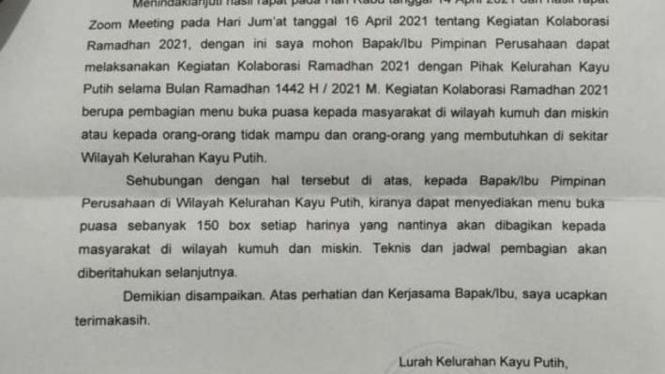 Surat Lurah Kayu Putih, Pulogadung Jakarta Timur