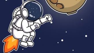 Ilustrasi astronot kentut di luar angkasa.