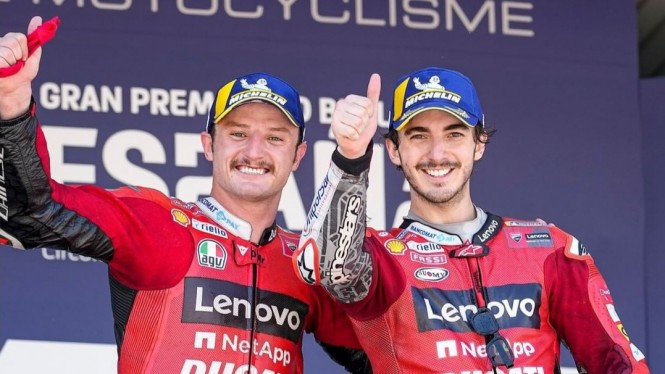 Pembalap Ducati, Jack Miller dan Francesco Bagnaia.
