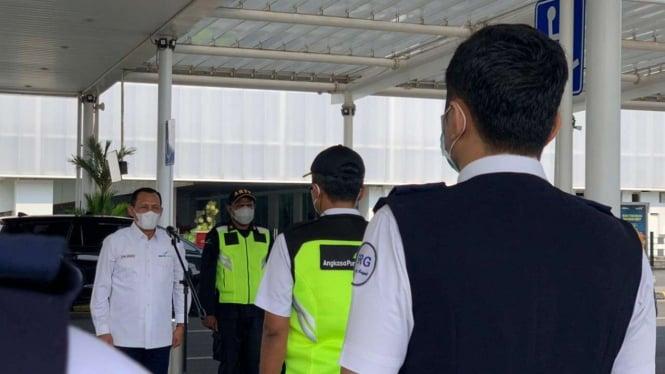 Apel Posko Peniadaan Mudik di Bandara Ahmad Yani Semarang.