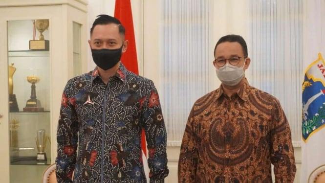 Agus Harimurti Yudhoyono bertemu Gubernur DKI Anies Baswedan.