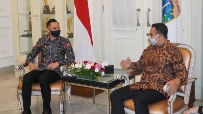 Ketum Demokrat AHY menemui Gubernur DKI Anies Baswedan