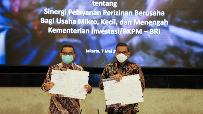 Penandatanganan MoU Sinergi Pelayanan Perizinan Berusaha Bagi UMKM BKPM-BRI