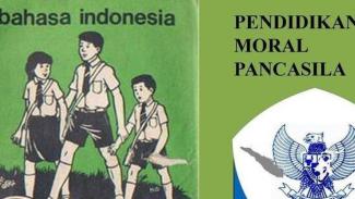 Ilustrasi: Buku Pelajaran Bahasa Indonesia dan PMP. (Foto/tirto)