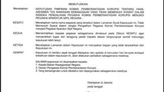 Viral surat pemecatan terhadap 75 pegawai KPK yang ditekan Firli Bahuri