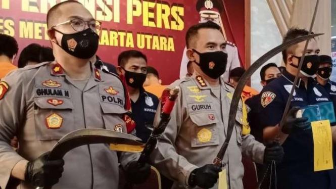 Senjata Tajam Para Pelaku Begal Ojol di Jakarta Utara