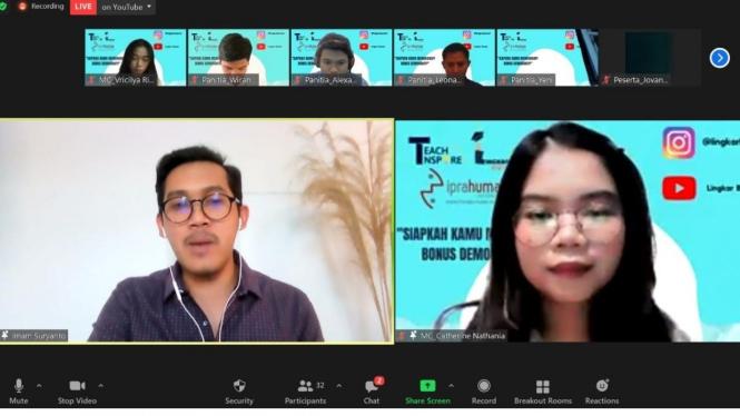 Prahumas bersama komunitas Lingkar Bestari dan Teachnspire mengadakan seminar online pada Minggu (9/5/2021).