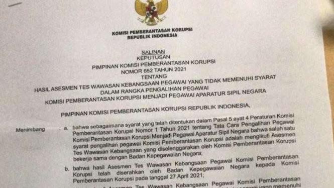 Viral SK Terkait Penonaktifan 75 Pegawai KPK Tak Lulus TWK