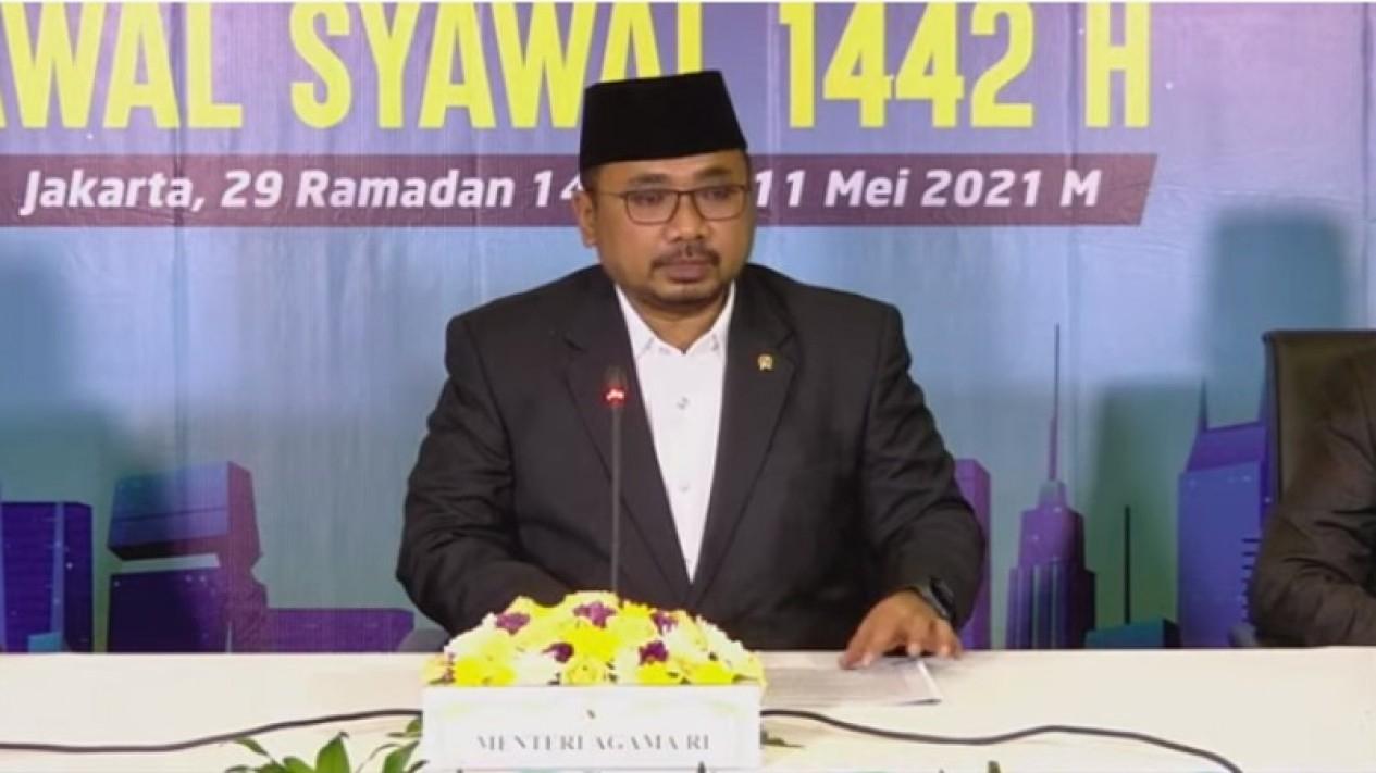 Menteri Agama Yaqut Cholil Qoumas memimpin sidang Isbat 1 Syawal 1442 H