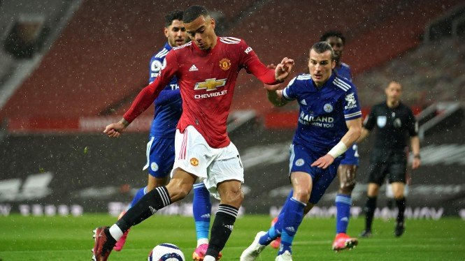 Mason Greenwood dalam duel Manchester United vs Leicester City