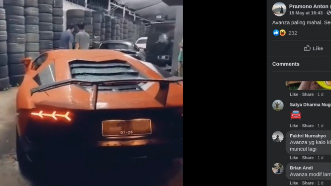 Mobil Lamborghini Aventador yang bikin warganet baper.