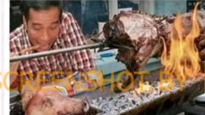 Beredar postingan Joko Widodo makan sate babi panggang.