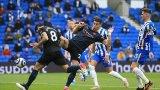 Pertandingan Brighton vs ManCity dalam lanjutan Premier League 2020/21.