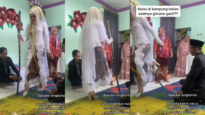 Viral video pengantin mau jatuh (TikTok/qorimayasri_makeup)