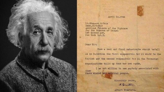 Viral Surat Albert Einstein kecam Zionis Israel (Pixabay/Twitter/akjailani)