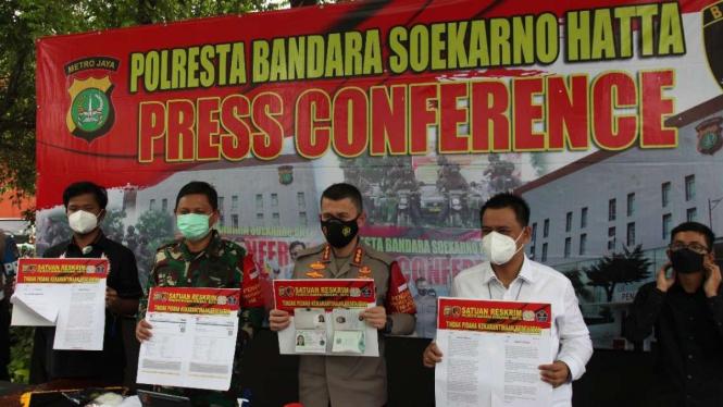 Polresta Bandara Soekarno Hatta gelar konferensi pers, Jumat, 21 Mei 2021.