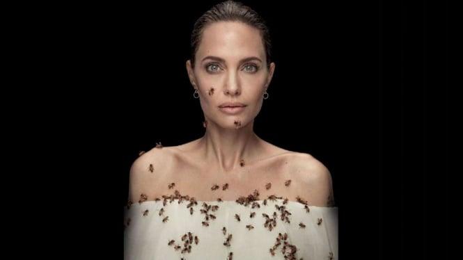 Angelina Jolie berfoto dengan lebah yang terancam punah.