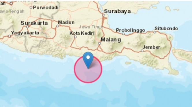 Pusat gempa bumi magnitudo 6,2 di Blitar.
