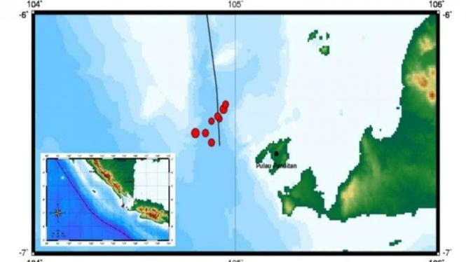 Peta seismisitas Selat Sunda yang dipantau BMKG