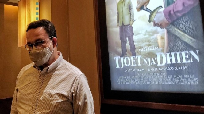 Anies Baswedan usai menyaksikan film Tjoet Nja' Dhien.