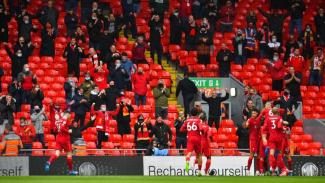 Pemain Liverpool merayakan gol ke gawang Crystal Palace