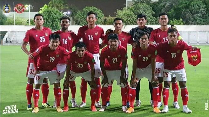 Skuad Timnas Indonesia saat melawan Afghanistan di laga uji coba.