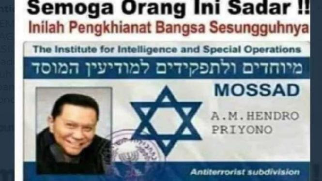 Foto hoax KTA Mossad Hendropriyono