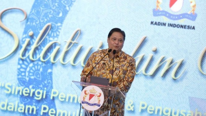 Menko Perekonomian Airlangga Hartarto di silaturami nasional Kadin.