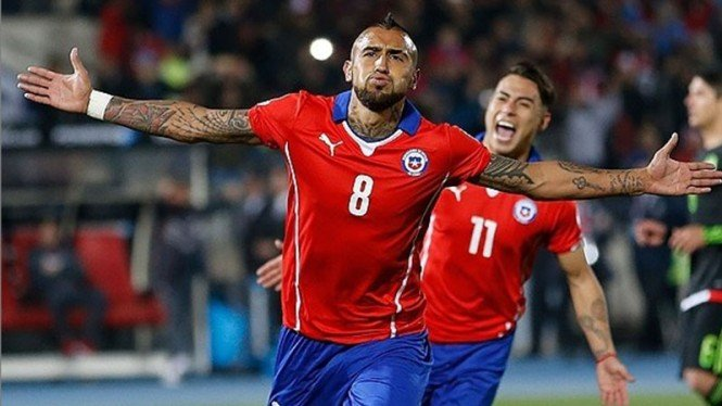 Selebrasi Gelandang Chile, Arturo Vidal.