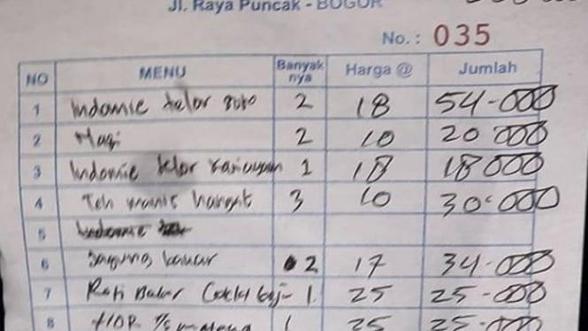 Viral nota bayar indomie mahal di Puncak Bogor (Instagram/infodepok_id)