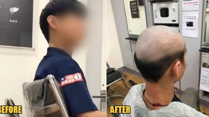 Seorang Ibu menggunduli rambut anaknya agar tidak keluar rumah.