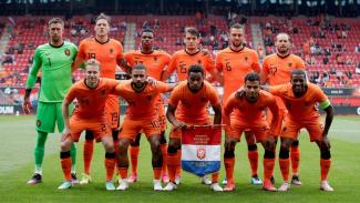 Timnas Belanda saat menghadapi Georgia