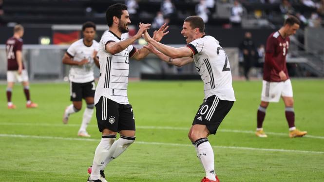 Timnas Jerman merayakan gol