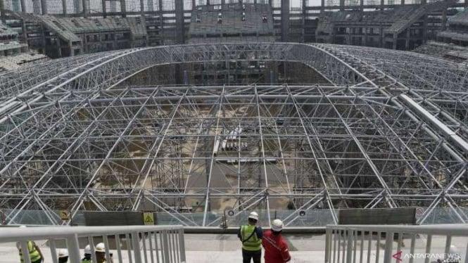 Suasana proyek pembangunan Jakarta International Stadium (JIS) di Tanjung Priok.