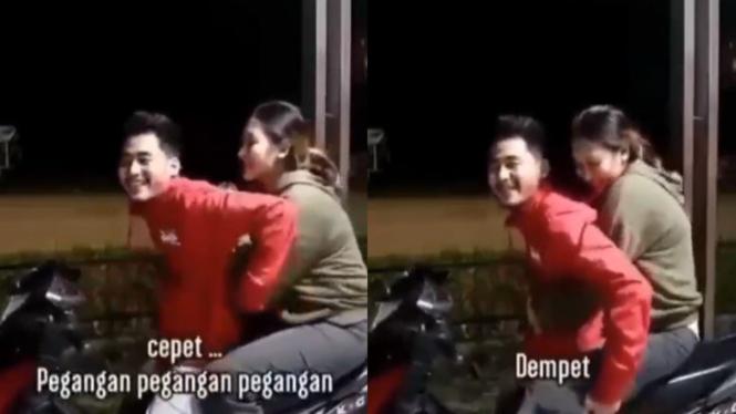 Viral adegan di atas motor (Instagram/ndorobeii)