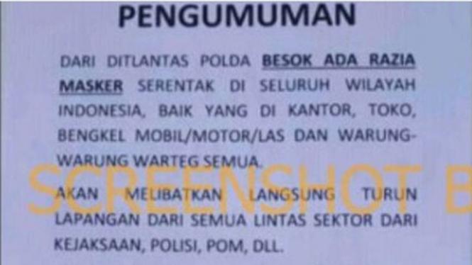 Pengumuman razia masker seluruh Indonesia.