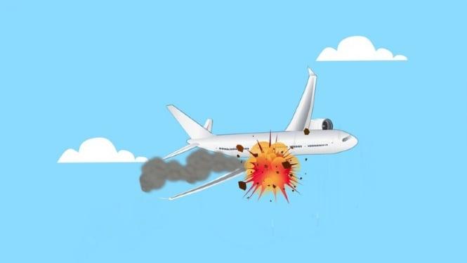 Ilustrasi kecelakaan pesawat atau pesawat jatuh.